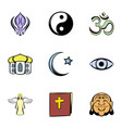 religion icons set cartoon style vector image vector image