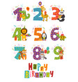 set birthday numbers with funny animals vector image