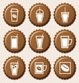 set coffee cup icon on bottle caps vector image