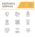 set line icons of led equipment vector image vector image