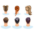 set of different hairstyles woman and man vector image vector image