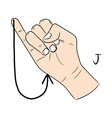 sign language and alphabetthe letter j vector image