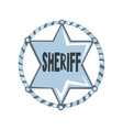 silver sheriff star badge american justice emblem vector image vector image