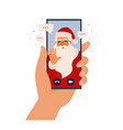 video call santa claus chatting online mobile vector image