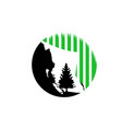 view alaska sky in night with tree logo vector image