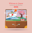 welcome to japan travel poster vector image vector image