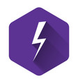 white lightning bolt icon isolated with long vector image vector image