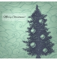 with hand drawn Christmas fir tree vector image vector image