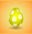 yellow easter egg with flowers vector image vector image