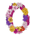 zero digit made of different flowers vector image