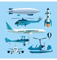 set of flying transportation objects Hot vector image
