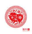 2019 chinese new year pig zodiac sign vector image vector image