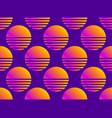 80s sun seamless pattern retro futuristic vector image