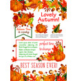 autumn season leaf fall harvest vegetable poster vector image vector image
