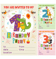 birthday invitation card template with animas vector image vector image