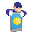 bitcoin thief vector image vector image