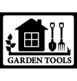 black frame with house and tools for gardening vector image vector image