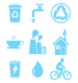 blue ecology saving and warning isolated icons set vector image