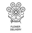 bouquet order and flower delivery isolated linear vector image vector image