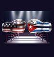 boxing gloves with prints of the usa and cuba vector image vector image