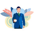 businessman shows a business card holds in his vector image vector image