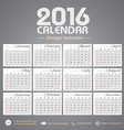 Calendar 2016 gray color tone background design vector image vector image