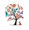 Cats tree childish style Sketch for your design vector image vector image