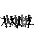Children silhouettes running vector image vector image