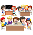 Children studying at their desk vector image vector image