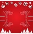Christmas background with snowflakes and trees vector image
