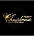 christmas card with golden confetti text on black vector image vector image