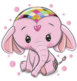 cute pink elephant isolated on a white background vector image vector image