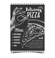 delicious pizza menu and gesture ok poster vector image