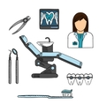 Dentist with tools and equipments colored sketch vector image vector image