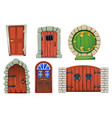 doors cartoon set vector image