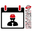 Engineer Calendar Page Flat Icon With Bonus vector image vector image