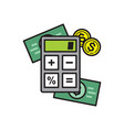 finance calculations icon on white background for vector image