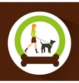 girl walking a gray dog with strap vector image