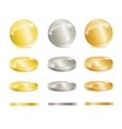 Gold silver and copper coins vector image vector image