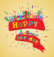 Happy birthday with colorful gift on yellow vector image vector image