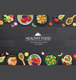 healthy food with ingredients on the dark wooden vector image