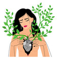 heart in chest with branches vector image