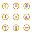ice cream assortment icons set cartoon style vector image vector image