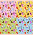 Ice cream cute seamless pattern set kawaii