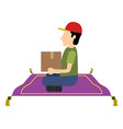 isolated delivery boy vector image vector image