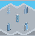isometric building set of urban building vector image vector image