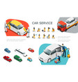 isometric car service elements set vector image