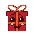 kawaii gift box cartoon facial expression vector image