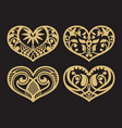 lacy hearts paper shapes love symbols vector image