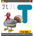 letter t with cartoon turkey vector image vector image